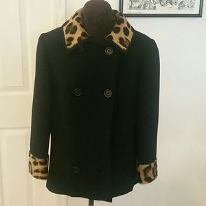 Vintage fur lined pea coat