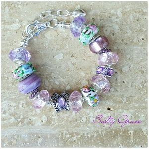 Salty Grace  Jewelry - Butterfly  pink and purple  charm bracelet