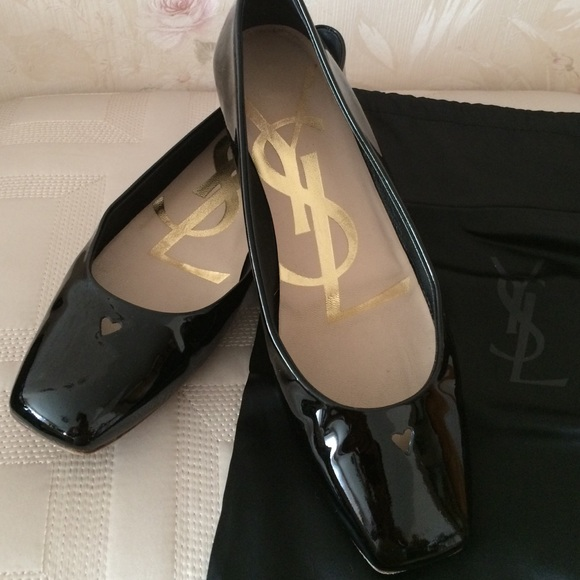 be737bbb63a Yves Saint Laurent Shoes | Ysl Black Patent Leather Flat Size 395 ...