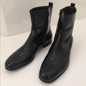 Lanvin black veal patent leather black tie boots