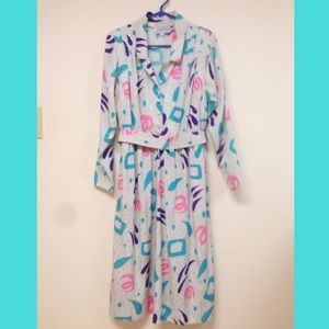 Colorful vintage 80's shirt dress
