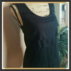 My soft tiered ruffle front black top