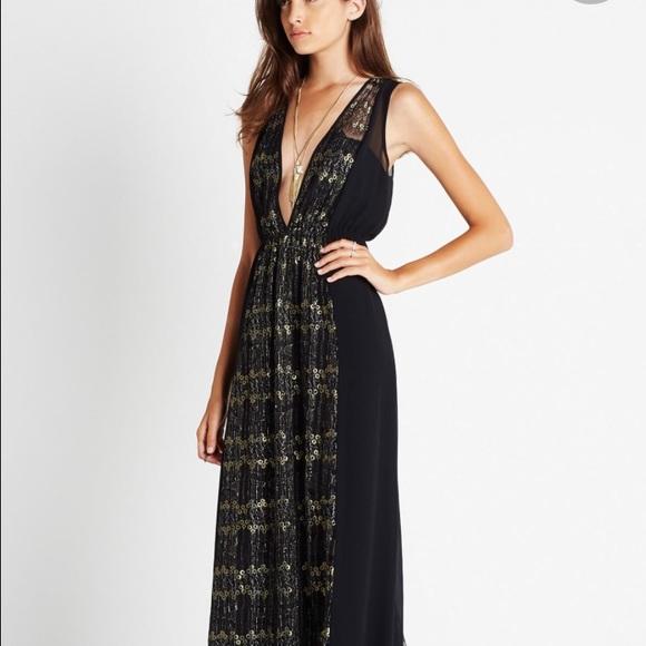 Bcbg maxi dress black and white gold