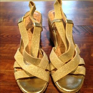 Merona Shoes - Strappy gold wedge heels