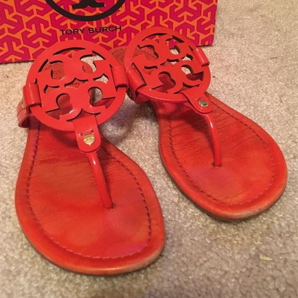 8e6eae2ed422 Tory Burch flame red Miller sandals Sz 9.5. M 57b26326620ff79e24013586
