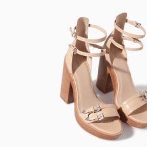 Zara nude trafaluc block heel sandal