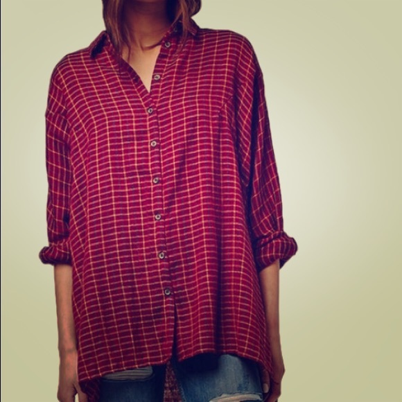 28 Off Topshop Tops Oversized Flannel Shirt From Julie