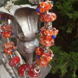 Orange and red Murano bead bracelet
