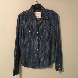 Buffalo denim button shirt with pearl snaps!