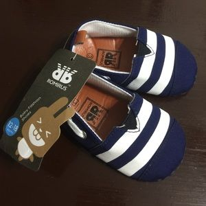 Baby shoes navy blue white stripes