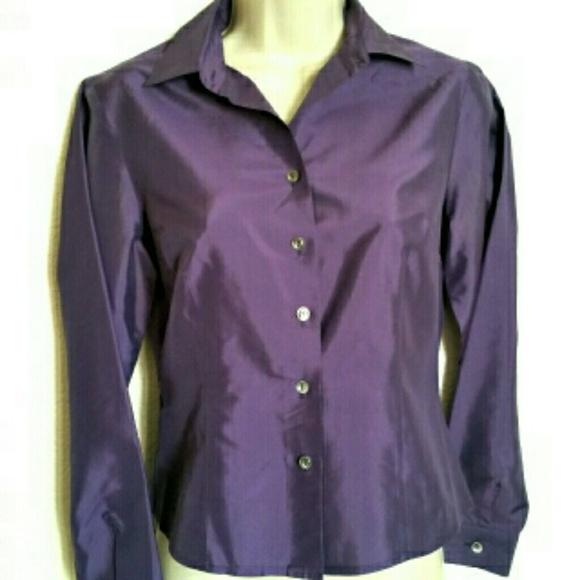 702a47b32774fa Ann Taylor Tops | Vtg Purple Silk Blouse | Poshmark