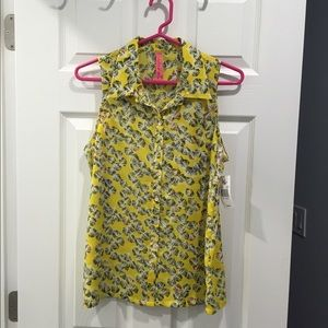 Eight Sixty Yellow Printed Sleeveless Blouse Sz S