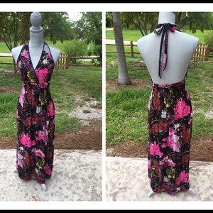 Dresses & Skirts - Black Floral Silk Blend Maxi Dress