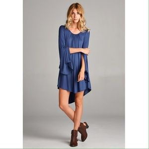 Dresses & Skirts - Tie Back Mini Dress with Slit Sleeves