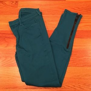 J Brand Teal jeans w/ zippers