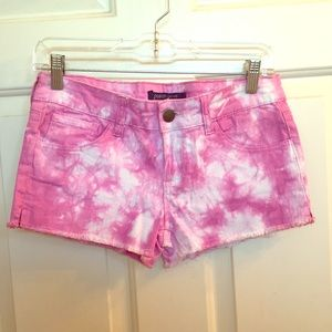 Ocean Drive Pants - Hot Pink & White Tie-Dye Jean Shorts