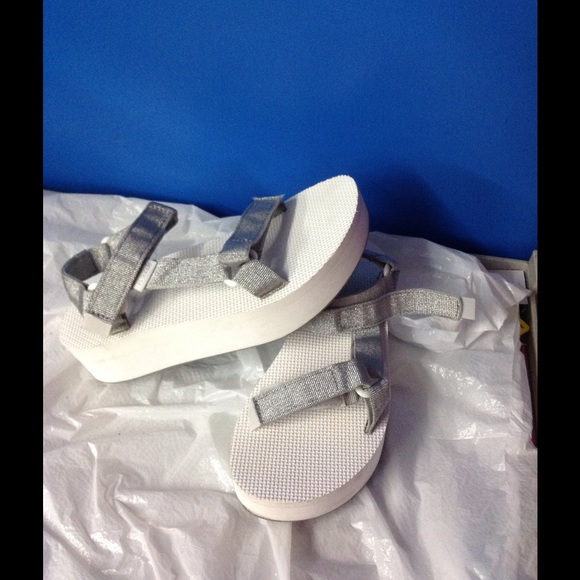 9dc707a752da Women s teva funky wedge sandals white with silver.  M 57b27f36680278da6a092f81