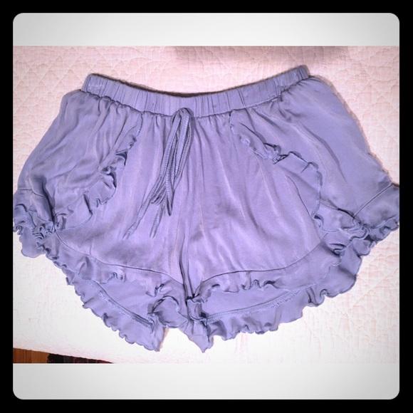 Tobi - Light blue flowy shorts with ruffle hem from Adriana's ...