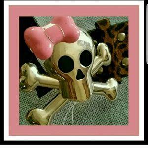 Pink Cookie Accessories - Pink Cookie Skull & cross bones leopard print belt