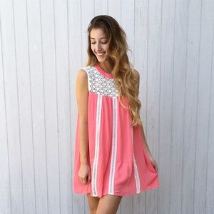 coral baby doll dress