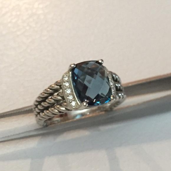 David Yurman Petite Wheaton Ring with Hampton Blue Topaz and Diamonds 0hSimWNf