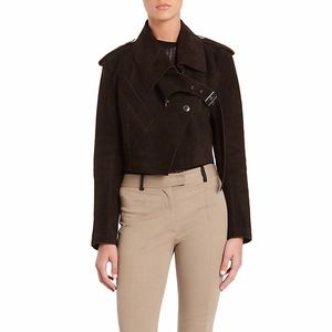 Alexander Wang Aviator Suede Jacket in Brown