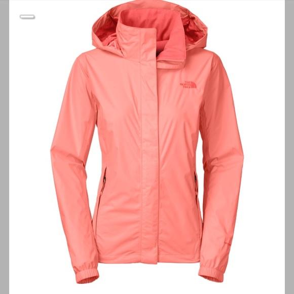 28fe96800 North face neon peach revolve rain coat