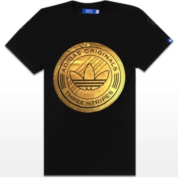 me quejo Malabares Monopolio  adidas Tops | Adidas Originals Gold Black Trefoil Tee Shirt Top | Poshmark