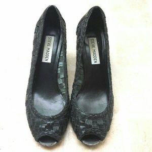 Steve Madden Shoes - Sparkk Black Leather Peep Toe