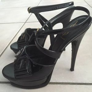 YSL Tribute Bow Sandals 38.5 Black Patent Leather