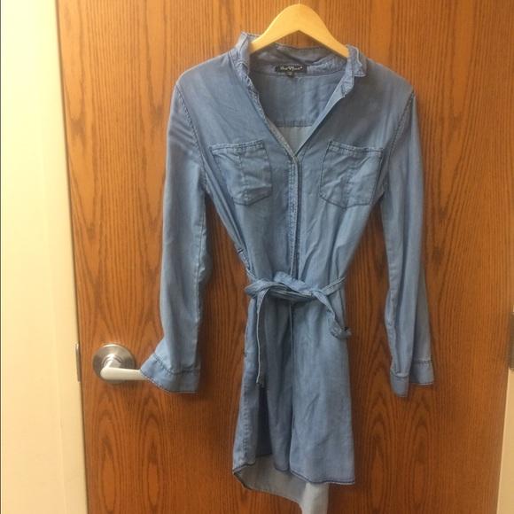 Velvet heart denim shirt dress