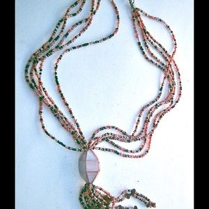 Multicolored Pink MOP Focal Bead Tassel Necklace