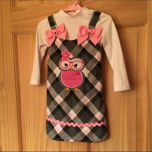 Youngland Girls' Plaid Dress with Undershirt