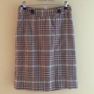 Beige plaid pencil skirt