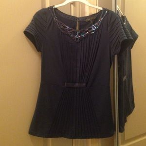 Navy Short Sleeve Blouse with beaded embellishment