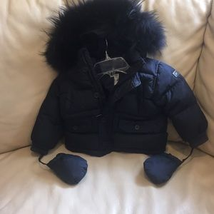 Add Down Other - 12 month down jacket with raccoon fur hood.