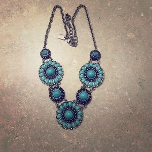 Turquoise Floral Statement Necklace
