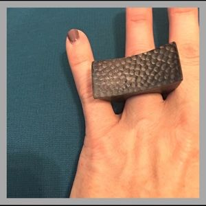 Jewelry - Wood and metal oversized ring, size 6.5