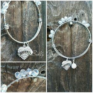 Salty Grace  Jewelry - Nurse wire wrapped bangle bracelet