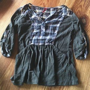 Anthropologie gray blouse with blue plaid accents