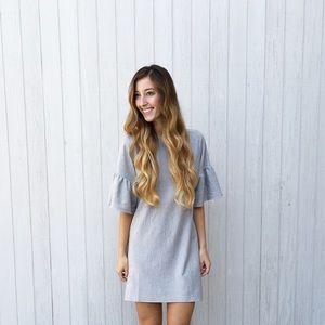 RESTOCKED grey flutter sleeve dress