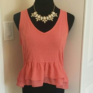 Urban Outfitters Tops - Kimchi Blue Peplum V neck Keyhole Crop Top
