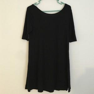 Black A-line Cotton Dress
