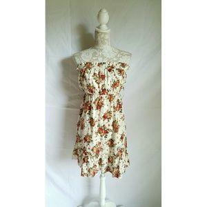 Floral strapless dress size medium