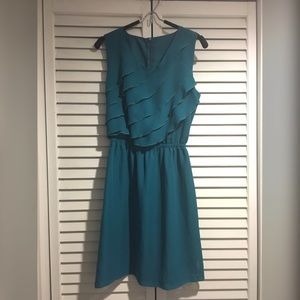 Anthropologie Teal Blue Green Chiffon Ruffle Dress