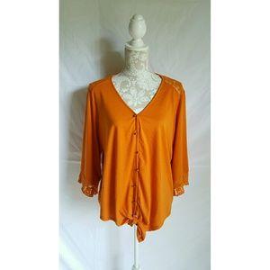 Orange lace cardigan size large or XL