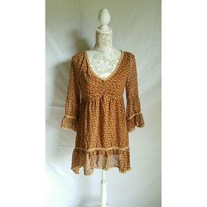 Burnt orange floral hippie dress size medium