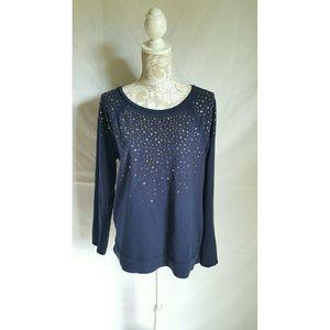 Stunning navy blue glam sweater size large