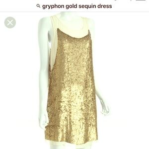 Gryphon Dresses & Skirts - gryphon gold sequin dress sz M over sheer bodice