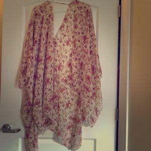 Tops - Long flowy floral kimono